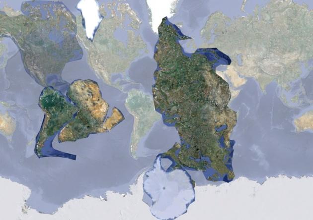 Расположение материков Земли до катастрофы