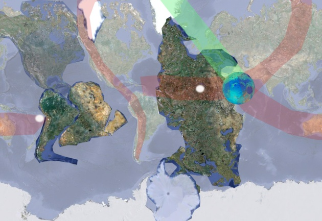 Физика повреждений в следствии натяжения коры от выхода Луны. Красный современный шлейф повреждений. Зеленым начальный отличительный шлейф повреждений. Белым старые полюса планеты.