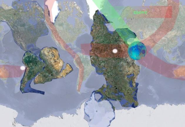 Физика повреждений в земной коре от выхода Луны. Красный современный шлейф повреждений. Зеленым начальный отличительный шлейф повреждений. Белым старые полюса планеты.+не соответствие позволяющее расчитать время катастрофы.