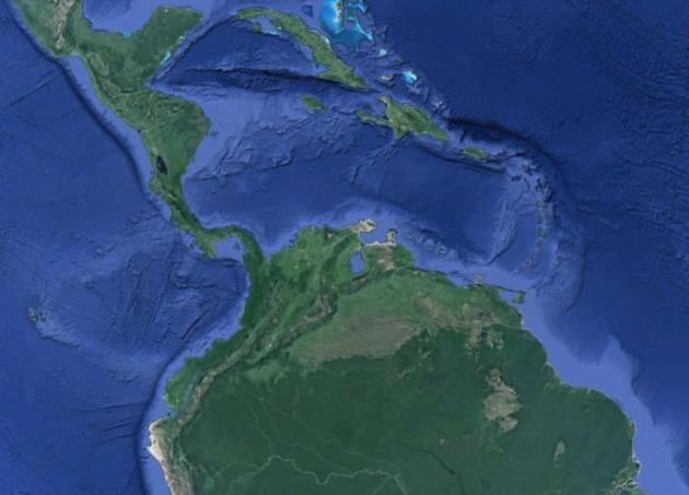 Точка входа Луны в Земную поверхность (частично накрыта Южно Американской плитой)