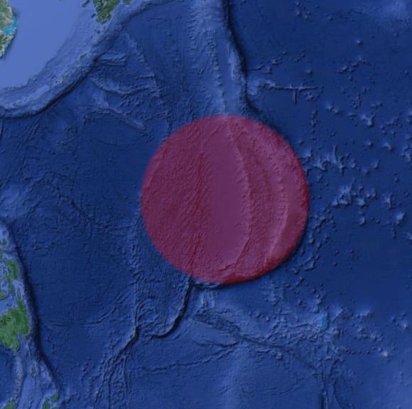 Марианская впадина, предположительно образованная при помощи Луны (на Луне есть аналогичный круг)