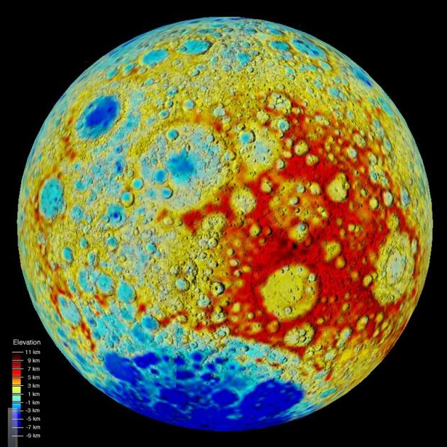 На обратной стороне Луны преимущественно высоты