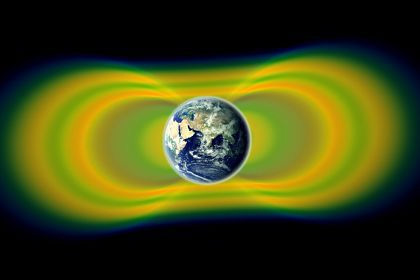 Магнитное поле Земли, как видно имеет очертания полного цикла движения планеты.
