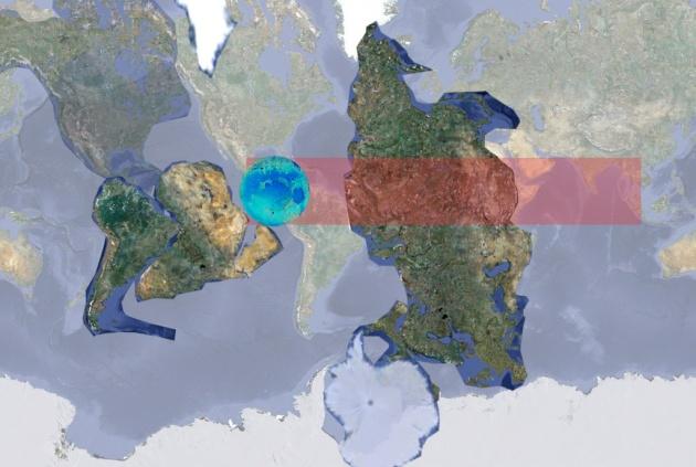Расположение материков Земли до столкновения с Луной.