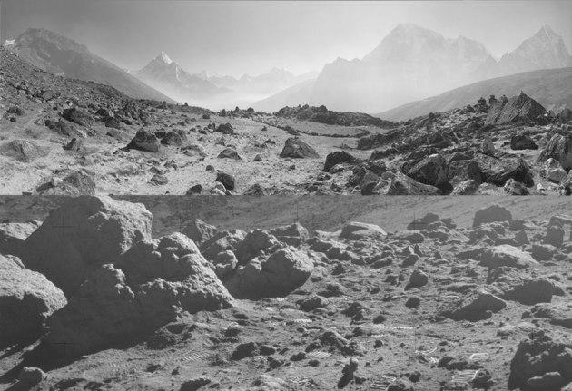 Верхняя половина фото Тибет (в Гималаях), а ниже Луна (Camelot Crater, Аполлона 17)